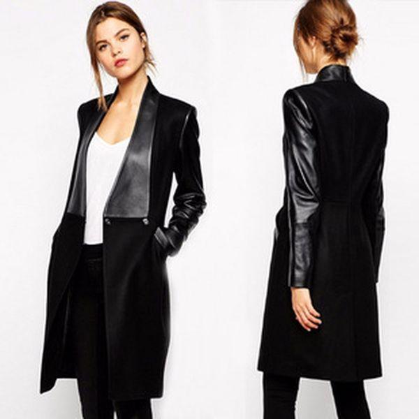 women's slim jacket elegant stitching leather long woolen coat jacket for women ladies outerwear clothing