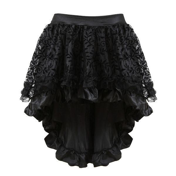 Merletto nero multistrato vittoriano costumi burlesque Gothic Steampunk abbigliamento gonna in chiffon arruffato per le donne corsetto di corrispondenza