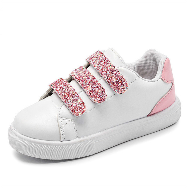 Hot Children's Sport Shoes GIRLS Dress Kids Boys Loafer Sports 2018 Spring New Wild White Shoes Korean Fashion Sequins Casual Shoes