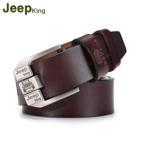 JeepKing Strap Leather Belt for men belts Male Genuine Leather Belt Mens High quality Pin Buckle Cowskin Men's belts Man Jeans