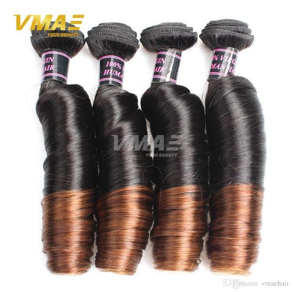 Best Quality Three Pieces Lot Brazilian Virgin Hair Two Tone Spring Wave Human Hair 1B/4# Brazilian Spring Curly Hair Bundle Deals Cheap
