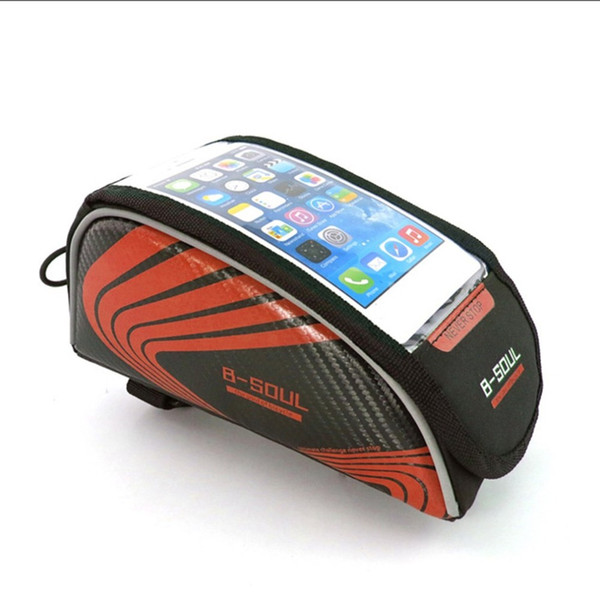 B-SOUL Small Size Touch Screen Bicycle Bags Cycling MTB Mountain Bike Frame Front Tube Storage Bag for 5.3 inch Mobile Phone