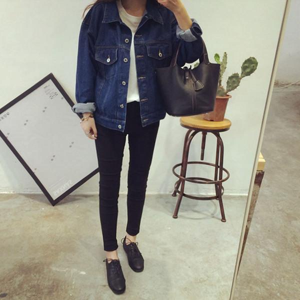 Women Fashion Retro Jean jacket Autumn New Brand Ladies Denim Blue Jean Outerwear Vintage Long Sleeve Streetwear