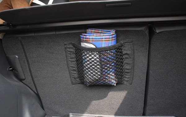 Helpful Car Bag Luggage Holder Universal Car Bag Net Seat Storage Mesh Net Organizer Pocket Sticker Trunk Strong Magic Tape