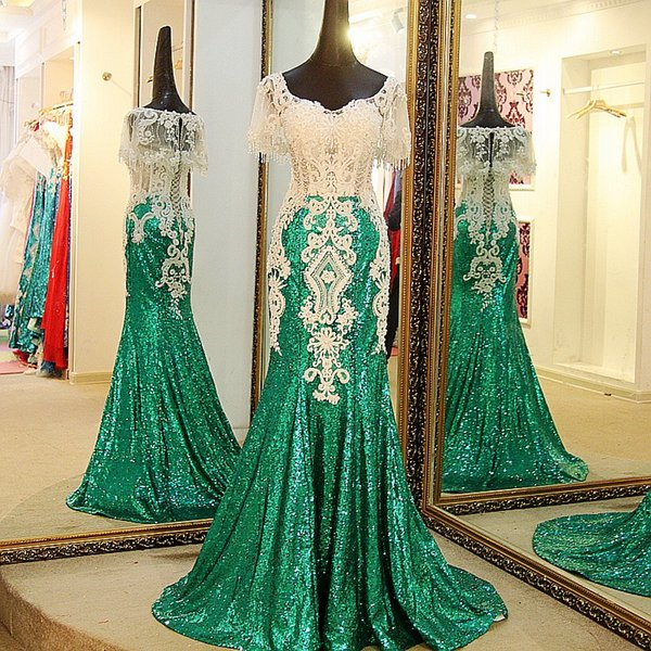 2019 Shiny Green Mermaid Party Evening Dresses With Wrap Sweetheart Beading Short Sleeve Corset Back Long Sequin Prom Party Dresses