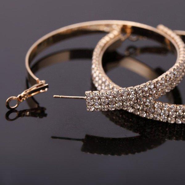 2016 gioielli di moda flash rhinestone di cristallo placcatura in oro orecchini orecchini a cerchio trasporto libero per le donne # E061