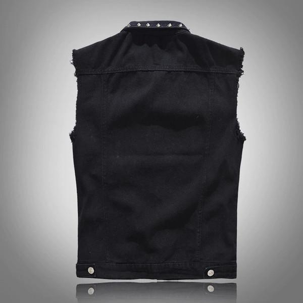 Denim Yelek erkek Punk Rock Tarzı Perçin Kovboy Siyah Kot Yelek Ham Kenar Erkek Motosiklet Ceket Kolsuz Tankları