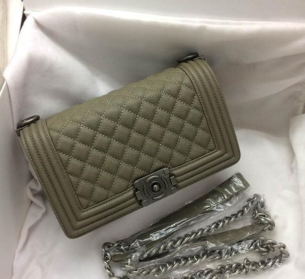20CM 25CM 30CM Big Brand Chains Diamond Lattice Shoulder Bags Totes Handbags Burgundy Black Army Green women Lady Real Sheep Genuine leather