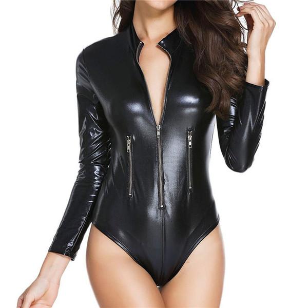 Women Long Sleeve Latex Lingerie Gothic Faux Leather Bodysuit Zipper Fetish Wetlook PVC Catsuit Erotic Clubwear PU Jumpsuit W860903
