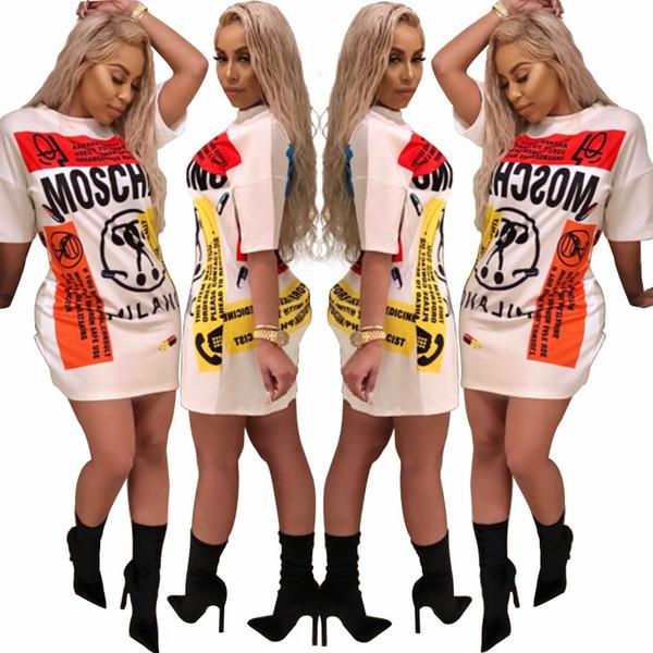Abito casual t-shirt alla moda 2018 nuove donne street wear Maglie lunghe Stampa carattere Mini abito da festa manica corta Abiti larghi Abiti Abiti