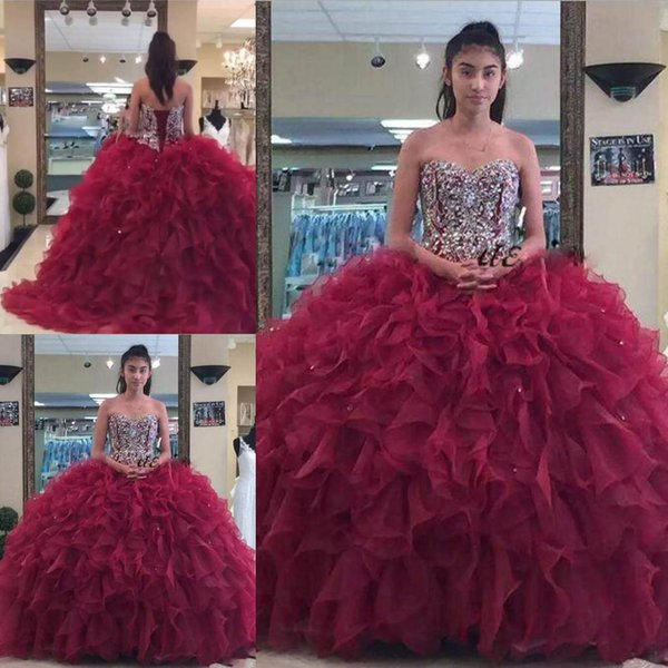 68251a486 Luxury Dark Red Quinceanera Dresses Sweetheart Beaded Sequin Cascading Ruffles  Organza Ball Gown Prom Gown Puffy