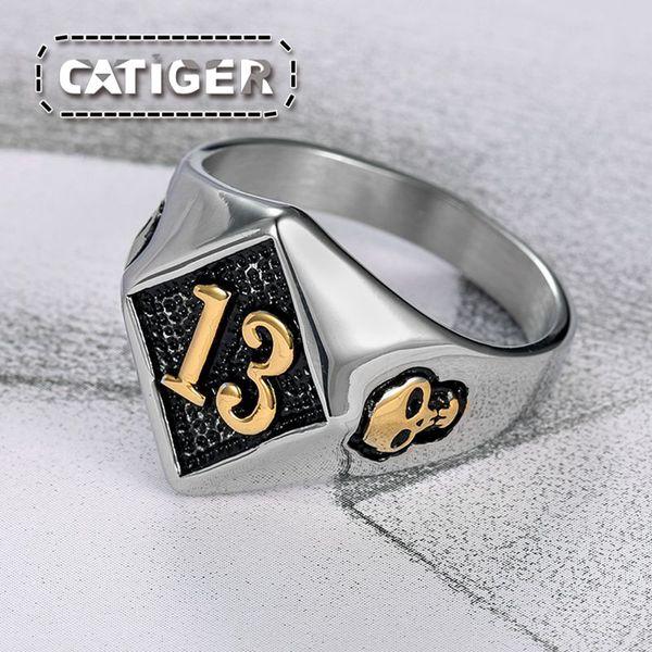Free Shipping ! Size 8-14# Motor Biker Lucky Number 13 Ring 316L Stainless Steel Men Boys Silver Cool Man Biker Skull Ring