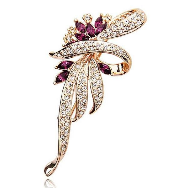 H:HYDE 2018 Crystal Flower Brooch Lapel Pin Fashion Rhinestone Jewelry Women Wedding Hijab Pins Large Brooches For Women