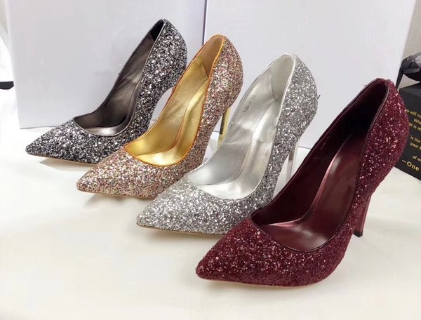 Sexy sequins pointed toe high heels Fashion women wedding shoes Chic high heeled punmps shoes EU35-42 size BY484