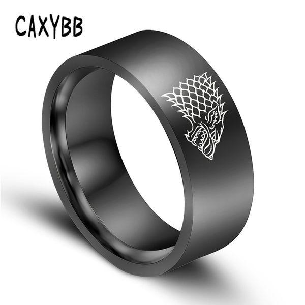 Gold Black Color Silver Stainless Steel Men Game Ring of Thrones House Stark Winterfell Wolf Men Rings For Women