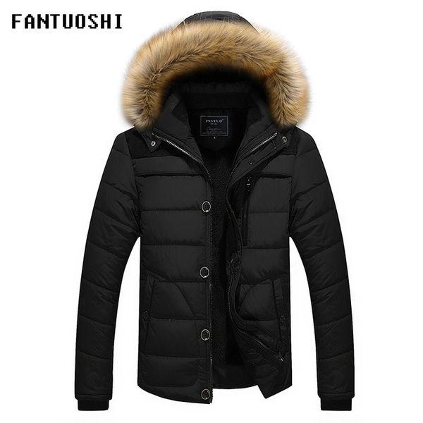 2018 neue Winterjacke Mode Männer dünne dicke warme Mantel Jacke Large Size Herren Casual Kapuzenmantel schwarz khaki rot 5XL