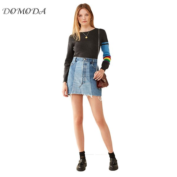 domoda blue a line joint jean skirt casual above knee mini short lady skirt summer new arrival for women 2018, Black
