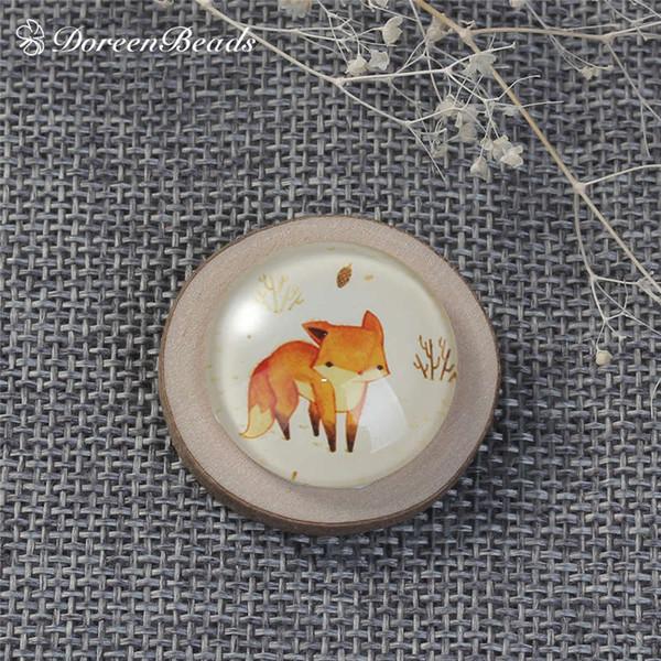 Großhandel DoreenBeads Naturholz Glas Pin Broschen Oval Orange Fox Rabbit Boy Multicolor Abzeichen für Kleidung 3 Möglichkeiten, 1 Stück