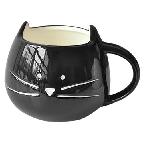 Taza de café Blanco gato Taza de leche de animales Taza de cerámica de los amantes Regalo de cumpleaños lindo, Regalo de Navidad (Negro)