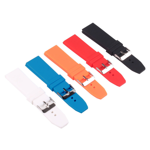 Silicon Rubber 16/18/20/22/24/26/28mm Bright-Colored Solid Watch Multi Color Army watchbands Strap Bands Buckle 18mm