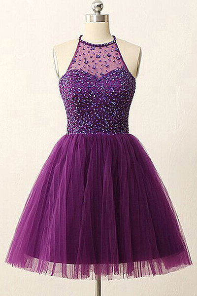top popular 2019 Sexy Jewel Sheer Neck A-line Homecoming Dresses Short Tulle Keyhole Rhinestones School Graduation Dresses for Party Cheap Prom Dresses 2020