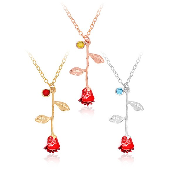 2018 Hot Fashion 925 Silver Gold Plated Birthstone Red Black Rose Flower Pendant Necklace For Women Valentine \'S Day