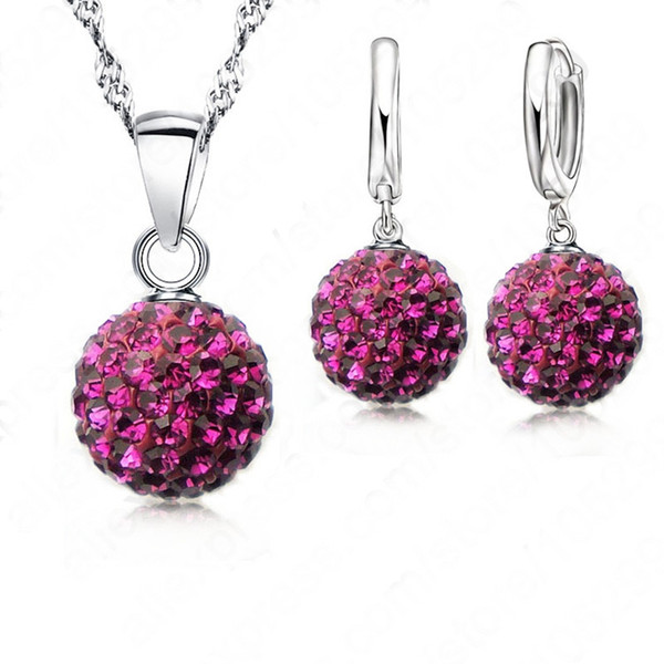 JEXXI Crazy New Jewelry Sets 925 Sterling Silver Austrian Crystal Pave Disco Ball Lever Back Earring Pendant Necklace Woman Gift