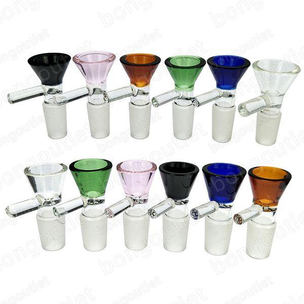 Cam su boruları renkli kase kalın cam bongs aksesuarları için sigara 14mm / 18mm erkek Ortak Altı renk