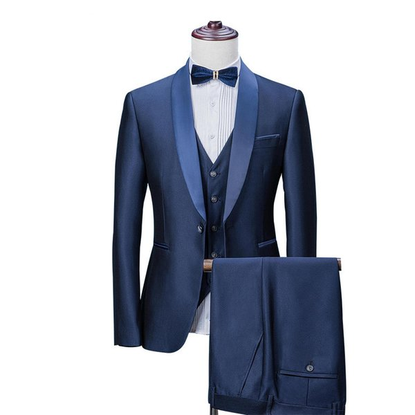 Custom Made Royal Blue Mens Suit 3 Pieces New Arrivals Party Shawl Collar Prom Wedding Suits For Men