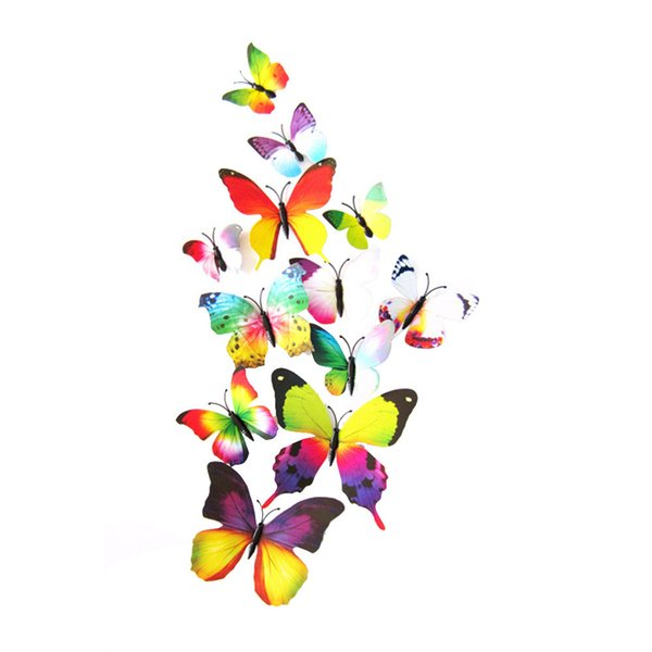 Wonderful 12pcs/lot Single Layer Wings Raninbow Butterflies 3D Cinderella Butterfly Decoration with Magnet Removable Wall Stickers