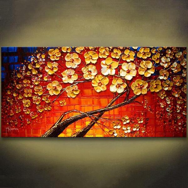 Acheter 1 Panneaux Coloré Rouge Fleur Peint à La Main à La Palette Couteau Peinture Moderne Mur Art Toile Peinture Pour Le Salon Oeuvre Sans Cadre De