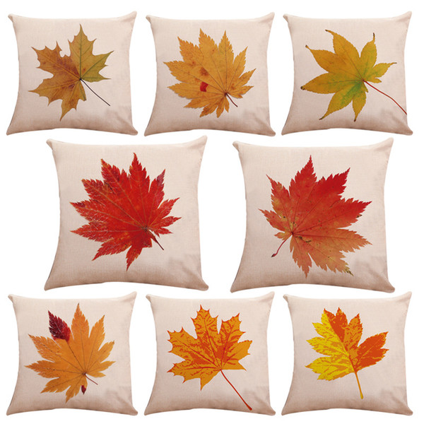 Cool Simple Maple Leaf Series Red Leaves Flax Pillowcase Sofa Cushion Set Factory Direct Sale Decorative Throw Pillows Cushion Cover Pillow Cover Discount Machost Co Dining Chair Design Ideas Machostcouk