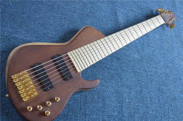 Livraison gratuite 7 cordes bois couleur naturelle guitare basse électrique, touche d'érable, offre guitare sur mesure