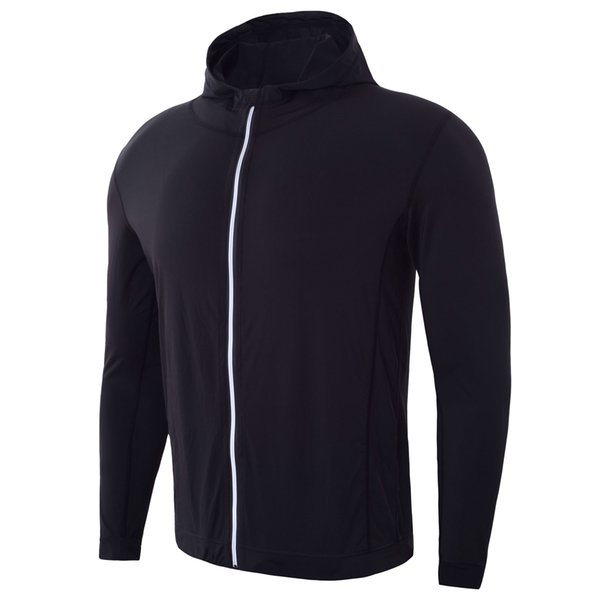 Men Black 88% polyester 12% spandex Zip Hoodie Jacket Fitness Outwear Cusotmized Printing Logo at Small QTY #MY17816