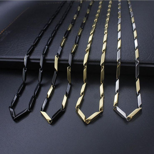 Classic Stainless Steel Link Chain Necklace 18K Real Gold Plated 316L Chains Necklaces Fashion Jewelry Accessories Punk Style Retail 0763WH