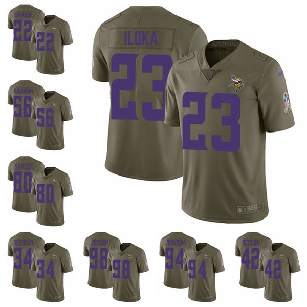 the latest 0ff5d 602ab 2019 Minnesota Limited Football Jersey Vikings Olive 2017 Salute To Service  8 Kirk Cousins 19 Adam Thielen 14 Stefon Diggs 28 From Topjerseys06, ...