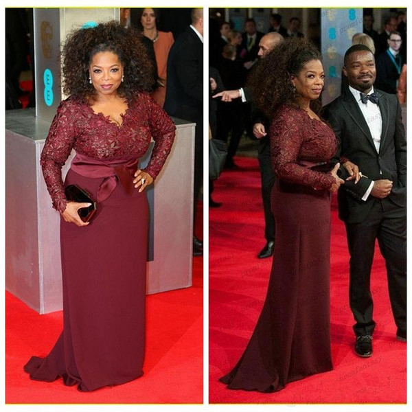 2018 Oprah Winfrey Burgundy Long Sleeves Lace Top Modest Mother of the Bride Evening Dresses Custom Plus Size Celebrity Red Carpet Gowns