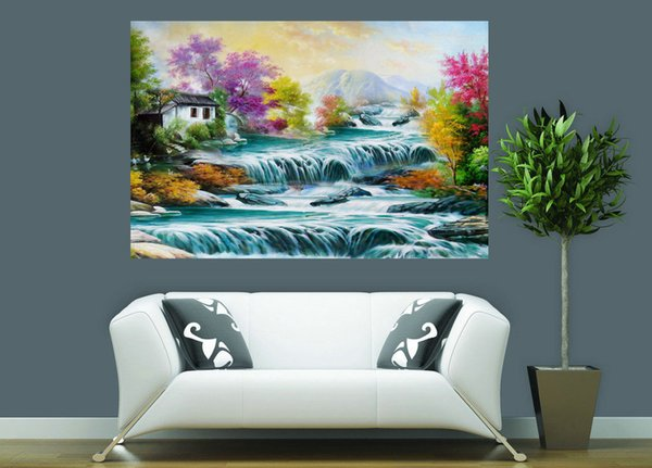 Thomas Kinkade Famous Landscape Oil Painting Reproduction High Quality Giclee Print on Canvas Modern Home Art Decor TK0351