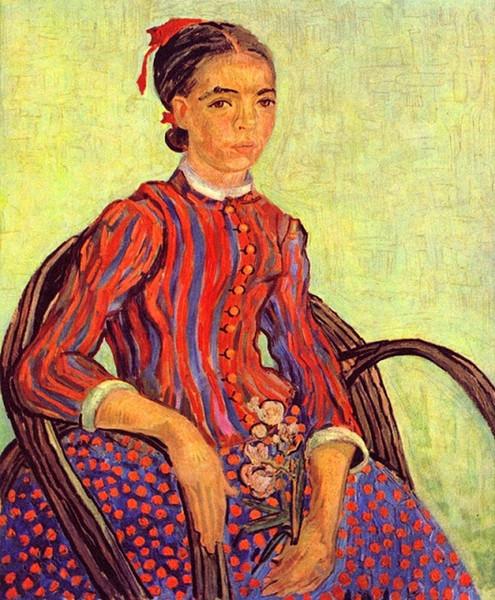 La Mousmé by Vincent Van Gogh Handpainted & HD Print Portrait Art Oil Painting Tree,Home Decor High Quality Canvas Multi Sizes p55
