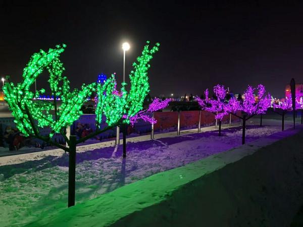السفينة حرة عيد الميلاد عطلة الزفاف حديقة الفناء الأخضر led زهر الكرز شجرة ضوء 1152 قطع الصمام المصابيح 2 متر ارتفاع 110/220vac 7 ألوان الخيار