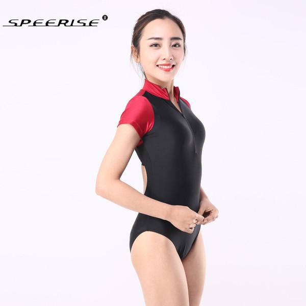 Adulto de una pieza Ballet básico de manga corta escote redondo Stretch leotardo de ballet Gimnasia Body Dancewear Colores mezclados Leotardos