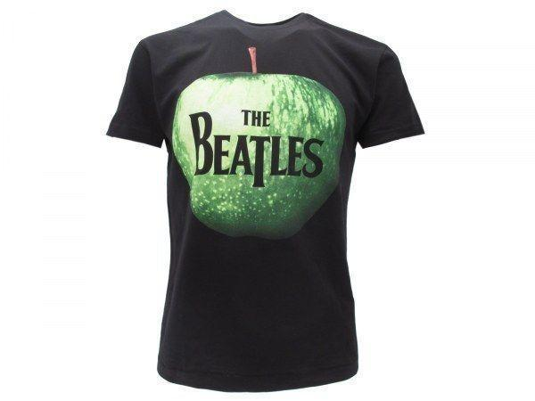Tee-shirt BEATLES Pomme mela Maglietta ROCK nera Uomo Donna ORIGINALE IDEA REGALO