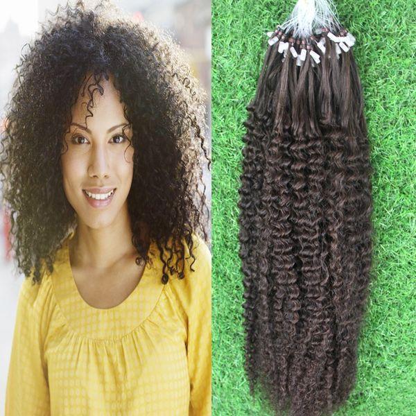 kinky curly micro loop hair extensions 100g brazilian micro ring loop hair extensions 1g/Stand 100pieces micro loop human hair extensions
