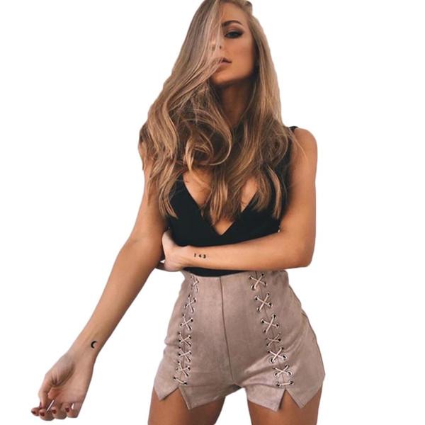 YJSFG HOUSE Vintage Lace Up High Waist Shorts Women Summer Skinny Sexy Shorts Feminino Elegant Casual Bandage Short Pants 2017