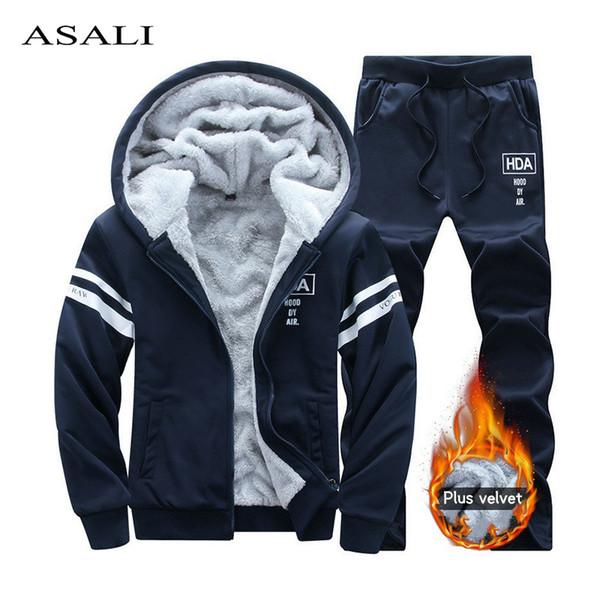 Winter Tracksuits Men Sets Thicken Fleece Hoodies + Pants Suit Sweatshirt Set Male Hooded Warm Sporting Suits Moleton Masculino