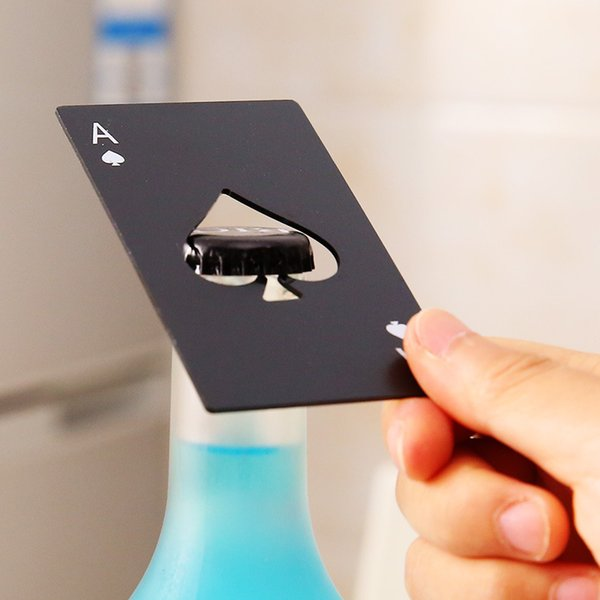 2Style Black Beer Bottle Opener Poker Naipe Ace of Spades Bar Tool Abridor de tapa de soda Regalo Utensilios de cocina Herramientas