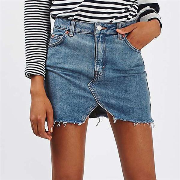 2018 Mini Women Pockets Button Skirt Female Summer Fashion High Waist Skirts Lady Plus Size Girls All-matched Jeans Skirt