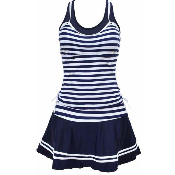 Mulheres Da Escola Estilo Desportivo Swimwear Marinha listras Imprimir Tankinis Duas Peças Vestido Maiôs Plus Size M ~ 4XL