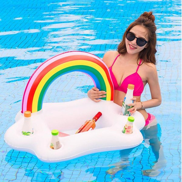 Unique Party Toy Ice Bucket Rainbow Cloud Cup Holder Inflatable Pool Floating Beer Drink Cooler Table Bar Tray Beach Island Prop