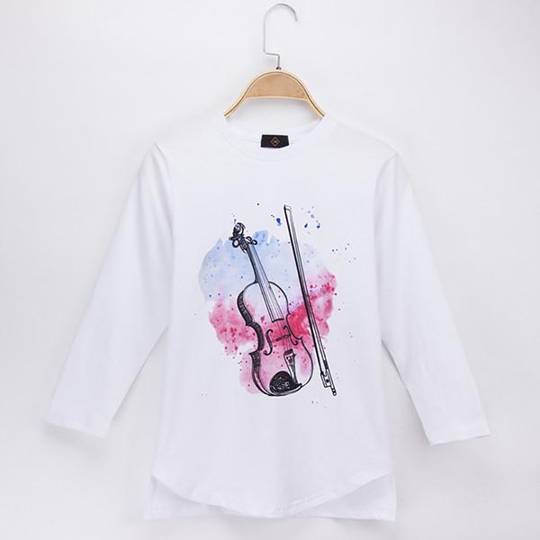 2018 New Children Clothes Kids T-shirts Full Violin Print 100% Cotton Child Shirt Girls Long T Shirts Boys Baby Tops Teen Tee Free Shipping